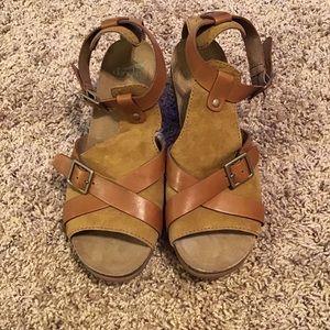 Dansko Brown Suede Heel Sandals Size 40